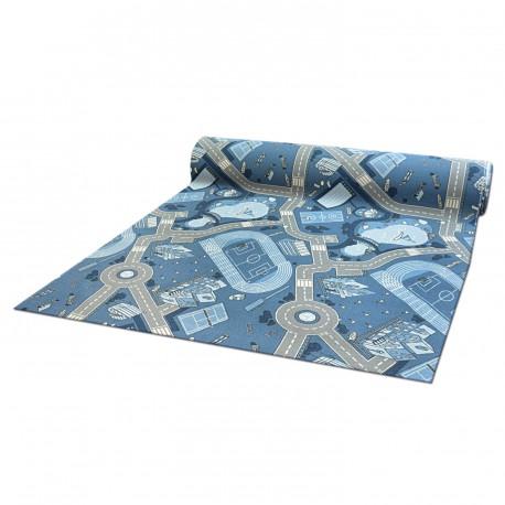Anti-slip Fitted carpet for kids STREET blue