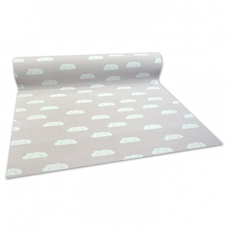 Anti-slip Fitted carpet for kids CLOUDS pink
