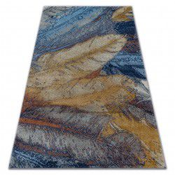 Carpet SOFT 6316 FEATHERS yellow / blue / mustard