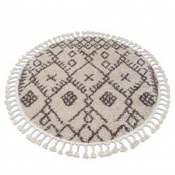 Carpet BERBER TANGER B5940 circle cream / brown Fringe Berber Moroccan shaggy