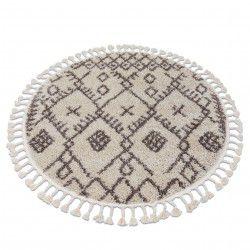 Carpet BERBER TANGER B5940 circle cream / brown Fringe Berber Moroccan shaggy