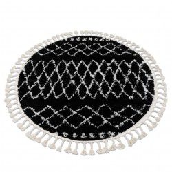 Carpet BERBER ETHNIC G3802 circle black / white Fringe Berber Moroccan shaggy