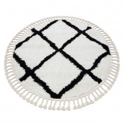 Carpet BERBER CROSS circle white Fringe Berber Moroccan shaggy