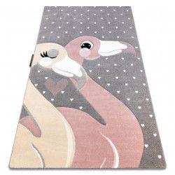 Carpet PETIT FLAMINGOS HEARTS grey