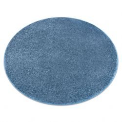 Carpet, round SANTA FE blue 74 plain, flat, one colour