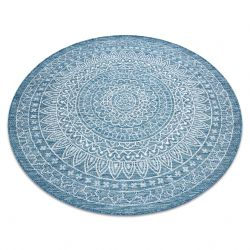 Carpet SISAL LOFT 21207 Rosette BOHO circle ivory/silver/blue