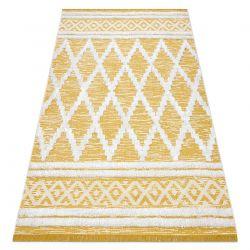 Carpet ECO SISAL Boho MOROC Diamonds 22297 fringe - two levels of fleece yellow / cream, recycled carpet