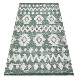 Carpet ECO SISAL Boho MOROC Etno Zigzag 22319 fringe - two levels of fleece green / cream, recycled carpet