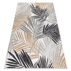 Carpet SISAL COOPER Palm leaves, tropical 22258 ecru / black