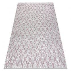 Carpet SISAL SION Trellis 22129 Flat woven ecru / pink