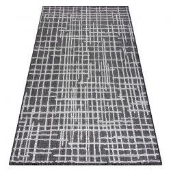 Carpet SISAL SION Trellis, Lines 22144 Flat woven black / ecru