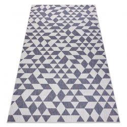 Carpet SISAL SION Geometric, Triangles 22373 Flat woven ecru / blue / pink