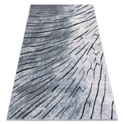 Modern carpet COZY 8874 Timber, wood - structural two levels of fleece grey / blue