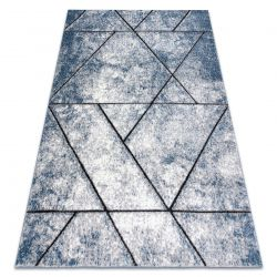 Modern carpet COZY 8872 Wall, geometric, triangles - structural two levels of fleece blue