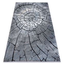 Modern carpet COZY 8875 Wood, tree trunk - structural two levels of fleece grey / blue