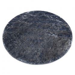 Modern washing carpet LAPIN circle shaggy anti-slip ivory / black