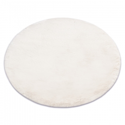 Modern washing carpet TEDDY circle shaggy, plush, very thick anti-slip beige