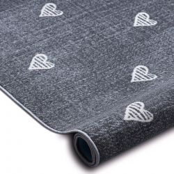 Fitted carpet for kids HEARTS Jeans, vintage children's - grey