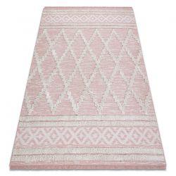 Carpet ECO SISAL Boho MOROC Diamonds 22297 fringe - two levels of fleece pink / cream, recycled carpet
