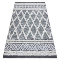 Carpet ECO SISAL Boho MOROC Diamonds 22297 fringe - two levels of fleece grey / cream, recycled carpet