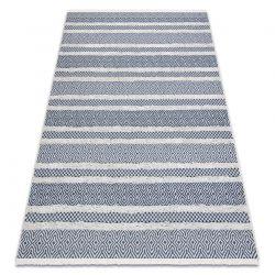 Carpet ECO SISAL Boho MOROC Lines 22328 fringe - two levels of fleece cream / navy blue, recycled carpet
