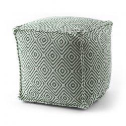 Pouffe SQUARE 50 x 50 x 50 cm Boho 21844 footrest, for sitting cream / green