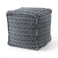 Pouffe SQUARE 50 x 50 x 50 cm Boho 22075 footrest, for sitting black / light grey