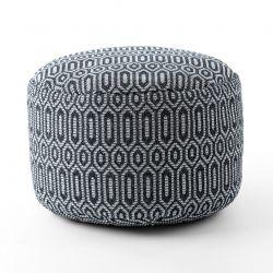 Pouffe CYLINDER 50 x 50 x 50 cm Boho 22075 footrest, for sitting black / light grey